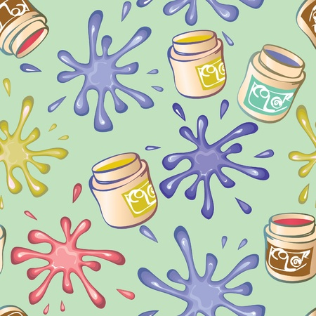 seamless background from the blots and cans of paint. Vector