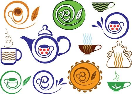 kettles: Signo de café y té. Variaciones de color. Un conjunto de elementos. Vectores