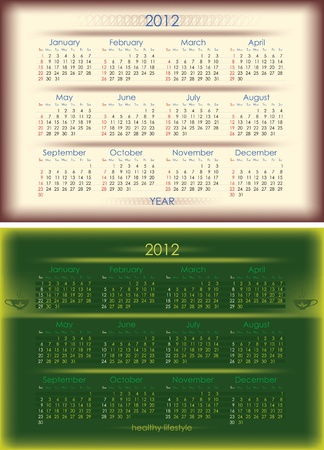 premise: Vector calendar for 2012 year . two versions