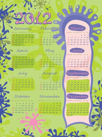 Poster - blots. Calendar for 2012. The week starts with Sunday. Green and pink.