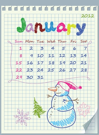 detached: Calendar for January 2012. The numbers drawn on detached exercise book in a cage.