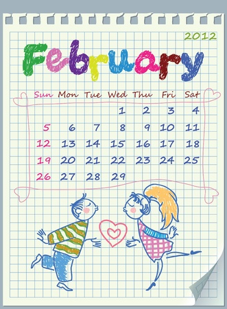 Calendar for February 2012. The week starts with Sunday. Illustration of Valentine Illustration