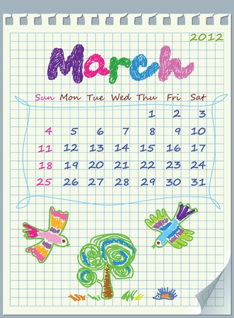 january 1st: Calendar for March 2012. The week starts with Sunday. Illustration of spring. The numbers drawn on detached exercise book in a cage.
