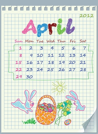 Calendar for April 2012. The week starts with Sunday. Illustration of spring. The numbers drawn on detached exercise book in a cage. Illustration