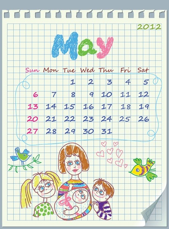 Calendar for May 2012. The week starts with Sunday. Illustration of spring. The numbers drawn on detached exercise book in a cage.