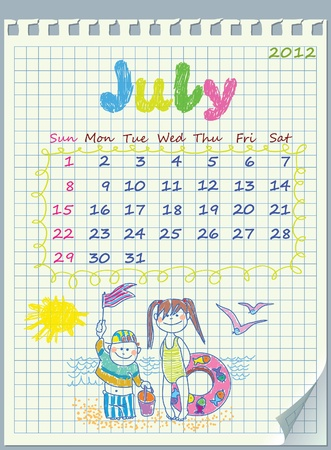 Calendar for July 2012. The week starts with Sunday. Illustration of the summer. Children on the beach. The numbers drawn on detached exercise book in a cage.