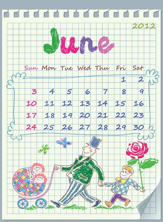 Calendar for June 2012. The week starts with Sunday.  Illustration of Stock Vector - 10915833