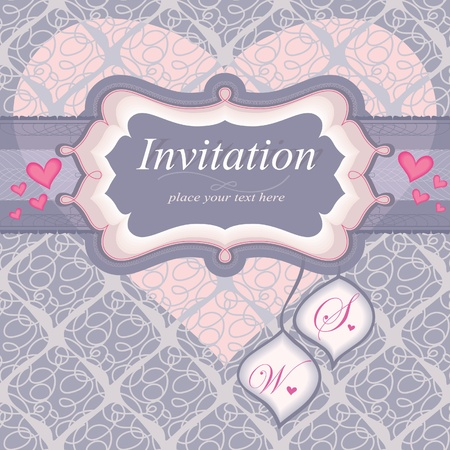 capitalization: Frame for an invitation in pink. Tags for capitalization. Used for the background seamless pattern.Wedding theme. Heart.