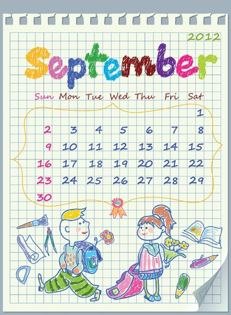 Calendar for September 2012. The week starts with Sunday. Children on the beach. Illustration School pores. The numbers drawn on detached exercise book in a cage. Vector