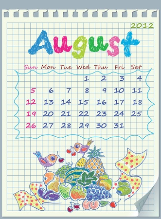 detached: Calendar for August 2012. The week starts with Sunday. Illustration of the fruit of paradise. The numbers drawn on detached exercise book in a cage.