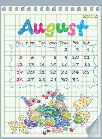 detached: Calendario de agosto de 2012. La semana comienza con el domingo. Ilustraci�n de la fruta del para�so. Los n�meros extra�dos en el cuaderno separado en una jaula.