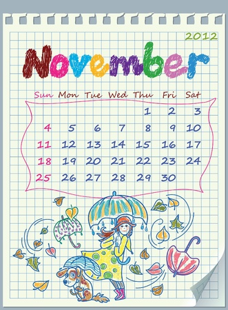 Calendar for November 2012. The week starts with Sunday. The numbers drawn on detached exercise book in a cage. Illustration of rainy weather.