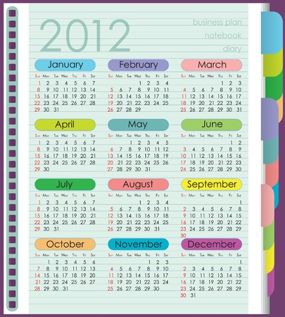 Calendar for 2012. The week starts with Sunday. Diary with colored tabs. Sheet in the lineup. Vector