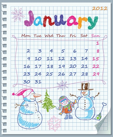 intention: Calendar for January 2012. Week starts on Monday. Leaf torn from a notebook into a cell. Perforation to the left of the vertical. The lower-right corner bent. Illustration Winter Games. Illustration