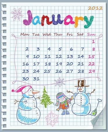 Calendario de enero de 2012. La semana comienza el lunes. Hoja arrancada de un cuaderno en una celda. La perforación a la izquierda de la vertical. En la esquina inferior derecha doblada. Ilustración Juegos de Invierno.