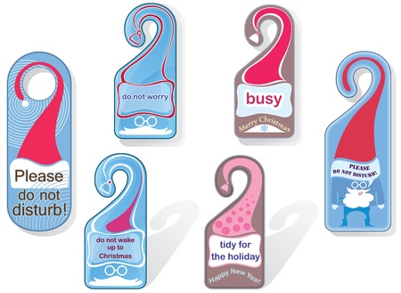 Message on the door handle. Tag. Christmas theme. Vector