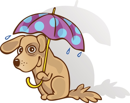 Funny dog under an umbrella. The method of protection. Guessed. Vector