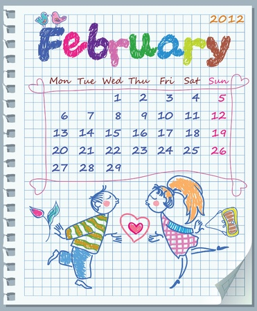 Calendar for February 2012. Week starts on Monday. Leaf torn from a notebook into a cell. Illustration of Valentine