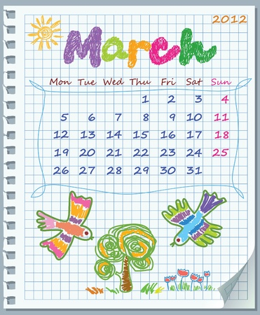 Calendar for March 2012. Week starts on Monday. Leaf torn from a notebook into a cell. Illustration of spring.
