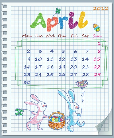 Calendar for April 2012. Week starts on Monday. Leaf torn from a notebook into a cell.  Illustration of Easte. Exercise book in a cage Stock Vector - 11072908