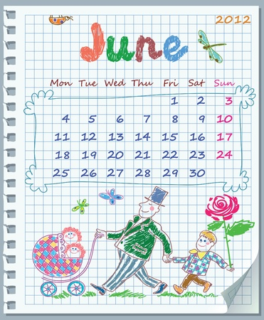 Calendar for June 2012. Week starts on Monday. Leaf torn from a notebook into a cell. Exercise book in a cage. Illustration of father Vector