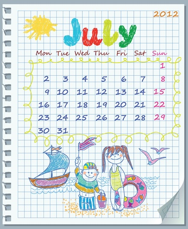 Calendar for July 2012. Week starts on Monday. Leaf torn from a notebook into a cell. Illustration of the summer. Children on the beach.   Exercise book in a cage. Stock Vector - 11072901