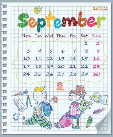Calendar for August 2012. Week starts on Monday. Leaf torn from a notebook into a cell. Exercise book in a cage. Illustration of the school year. Illustration