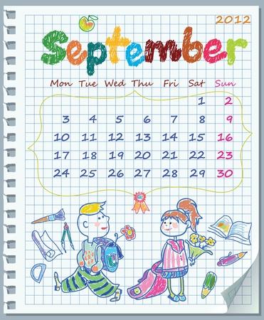dates fruit: Calendario de agosto de 2012. La semana comienza el lunes. Hoja arrancada de un cuaderno en una celda. Libro de ejercicios en una jaula. Ilustraci�n del a�o escolar. Vectores