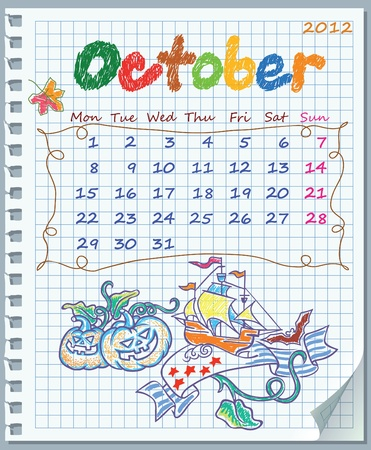 Calendar for October 2012. Week starts on Monday. Leaf torn from a notebook into a cell. Exercise book in a cage. Illustration of Halloween and Columbus Day.  Vector