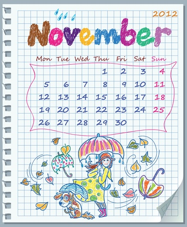 Calendar for November 2012. Week starts on Monday. Leaf torn from a notebook into a cell. Exercise book in a cage. Illustration of rainy weather. Vector