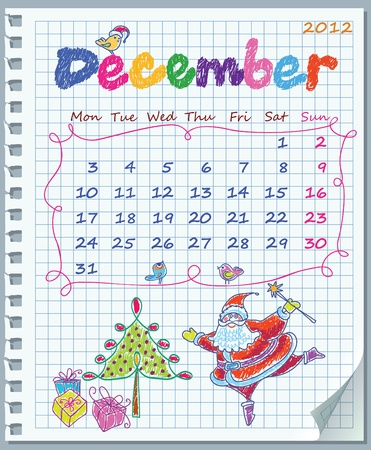 Calendar for December 2012. Week starts on Monday. Leaf torn from a notebook into a cell. Exercise book in a cage. Illustration of Christmas. Illustration