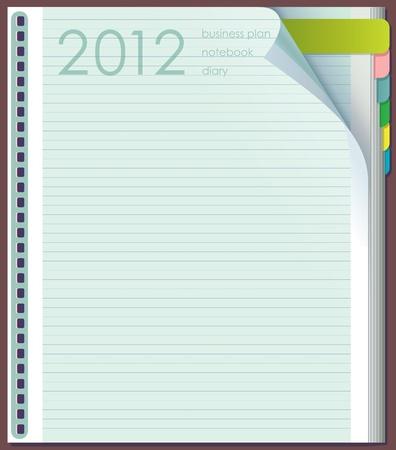 日記の記入項目。ラインナップ ページです。右上隅に曲がっています。数 2012 年。  イラスト・ベクター素材