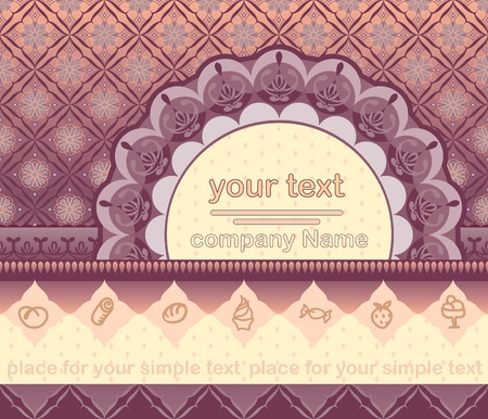 ornamented title page with space for text. Suitable as an invitation or announcement. Signs of dessert are a separate group can be easily replaced. The background is designed as a seamless pattern.