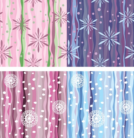 Seamless background of vertical stripes, snowflakes and dots. Variations in color. Topic of winter holidays. Packing. Stock Vector - 11212527
