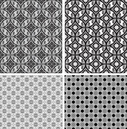 Black and white ornamental seamless pattern.