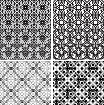 Zwart en wit sier naadloos patroon.