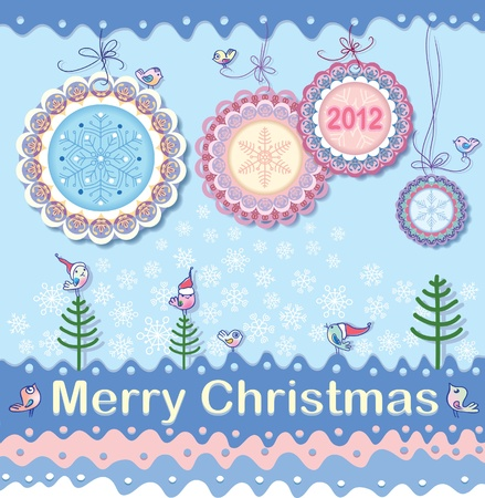 Festive Christmas background on the subject. New medals - Christmas decorations. Winter birds are like little Santa. Vector