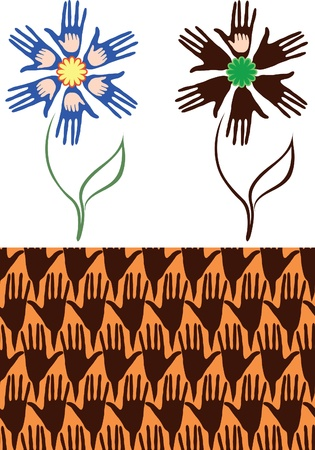 Flower of the palms. Hands mother and baby. Seamless background from his hands. Variant of the flower, where children only palm of one hand - the problem of childlessness. Stock Vector - 11345523