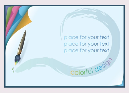 Horizontal sheet of paper. At the top corner bent. A stack of paper. Space for text highlighted with paint brush. Illustration