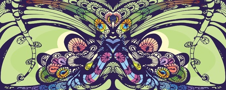 Peacock. Decorative composition in the vector. Stylization and conventionality in the image of a bird. Vector
