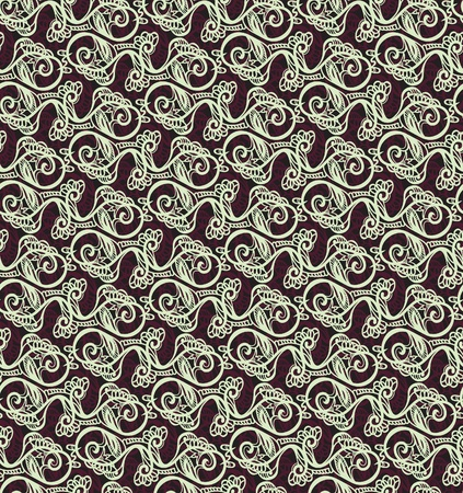 vintage weaving: background of a drawing of curls. Seamless vector pattern.