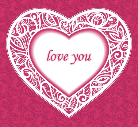 Congratulations to the Saint Valentine's Day. Text 'I love you. Postcard to a seamless background. Vector