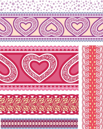 options for decorative ribbons on the character of the heart. Seamless belt. Vector