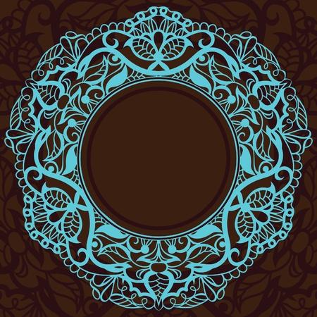 servilleta de papel: marco de la vendimia decorativa en una plaza. Incrustaciones de turquesa sobre fondo de color marrón oscuro