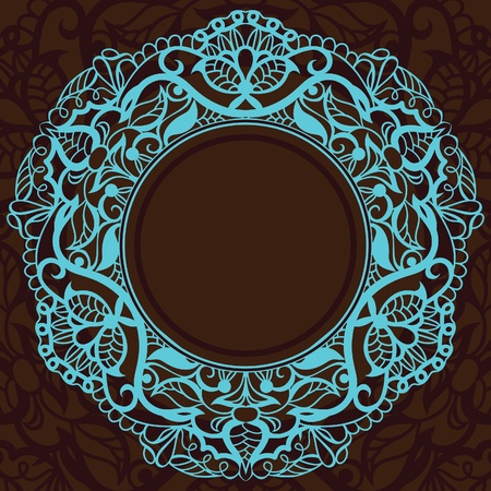 vintage decorative frame in a square. Turquoise inlay on dark brown background