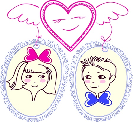 cameo: Figure heart with wings, which has chosen pair. The girl and boy are shown in small portraits. Under the image of the heart and the circuit is no border background. Illustration