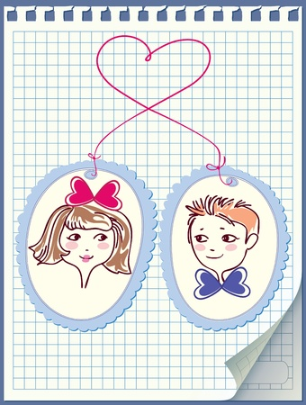 transparently: Leaf notebook with pasted pictures of boys and girls. Drawn yarn in the form of the heart. Illustration
