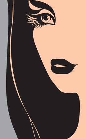 silhouette of a woman's face. beautiful Girl. Vector