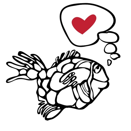 Fish dreams of love. Thoughts in the water. Vector