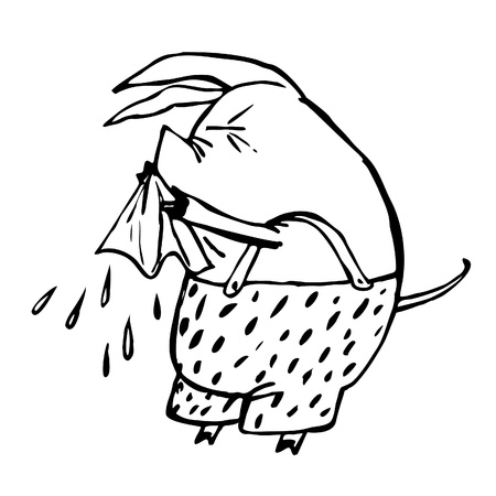 colds: pig sneezes into a handkerchief. Colds, the flu